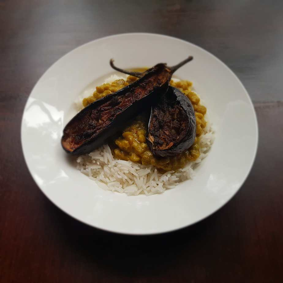 Vegan Oven Roasted Spicy Aubergines with Spicy Green Lentils